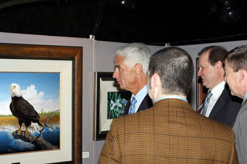Florida Governor Charlie Crist meets with Artist Peter G in person and views his Florida Wildlife Art Exhibit