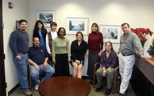 The staff of the National Wildlife Federation's southeast regional offices in Atlanta, Georgia with artist Peter R. Gerbert.