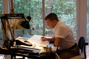Peter G, at work in the new art studio.