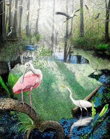 Great Egret On Prowl >> Peter R. Gerbert's Original Acrylic Paintings